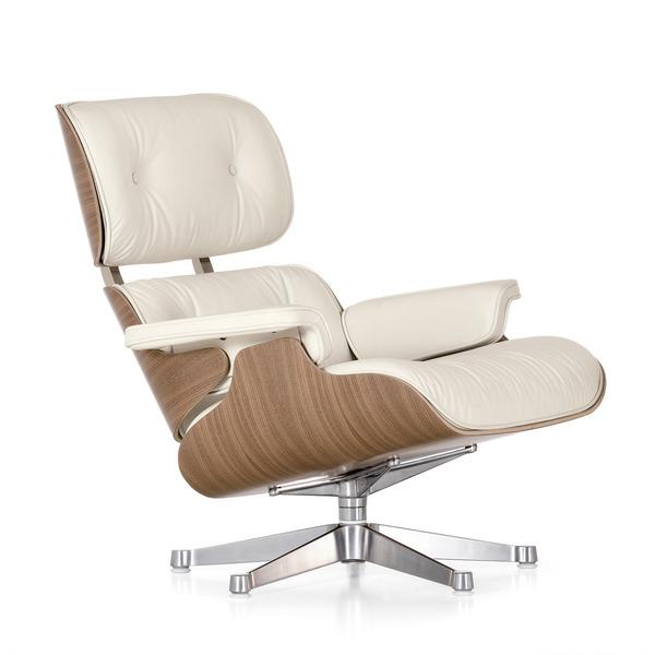 Vitra   Lounge Chair, Weiß / Poliert, Nussbaum (neue Maße) ...