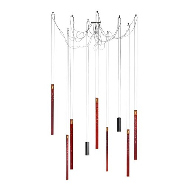 Ingo Maurer Flying Flames Pendelleuchte Set 2, rot Lichtfarbe 2700 Kelvin 7x Flying Flames 2x Downlights 1x Baldachin 114x40cm